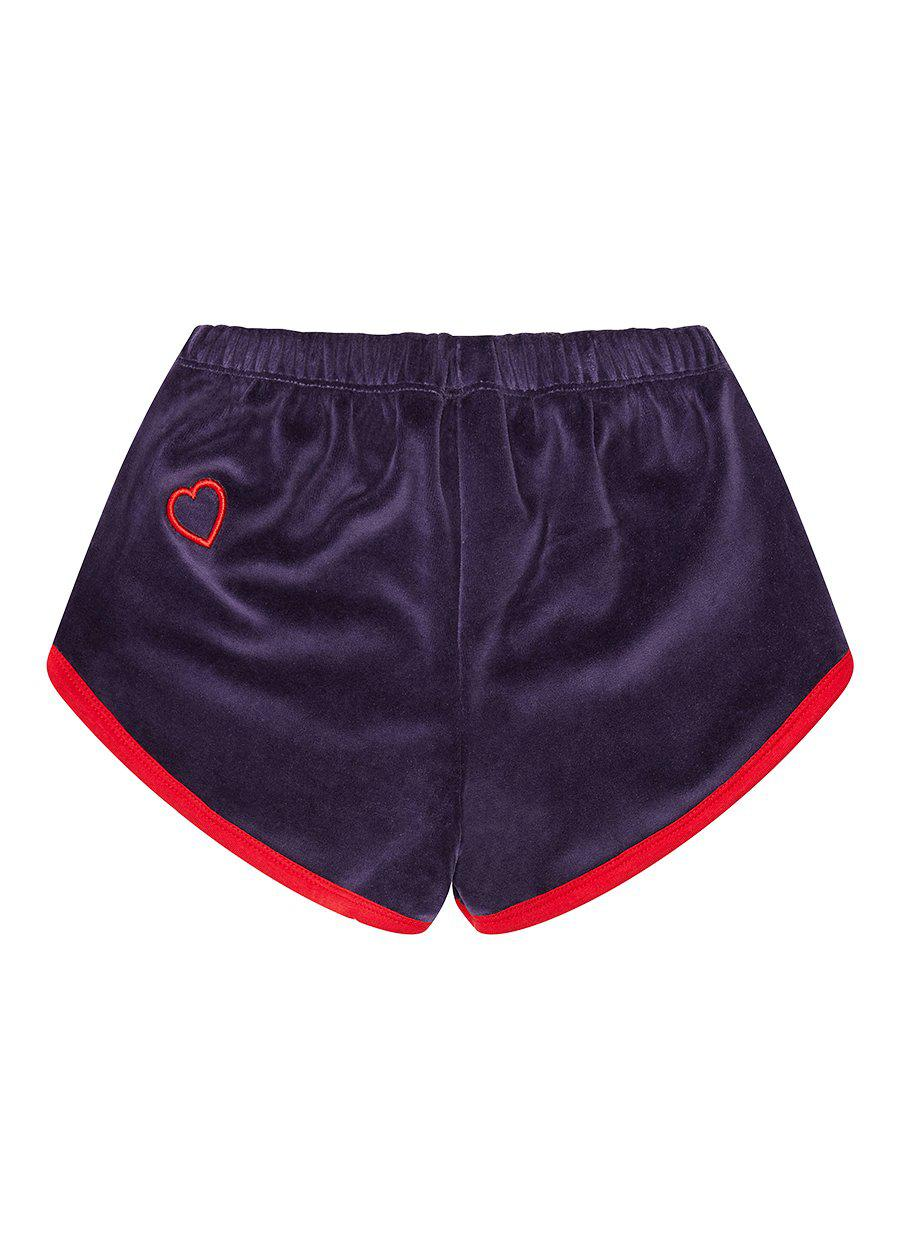 Navy Velour Runner Shorts