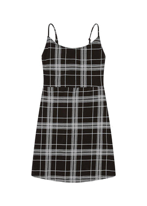 Black and White Plaid Jersey Dress