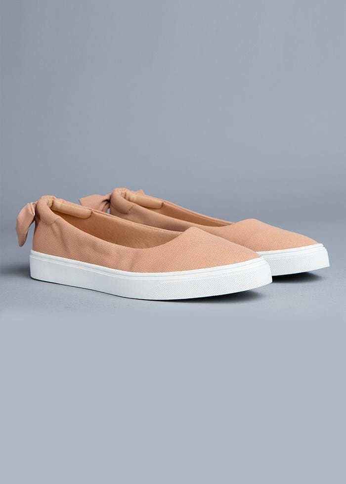 Nude Perfect Plimsole with Bow Front