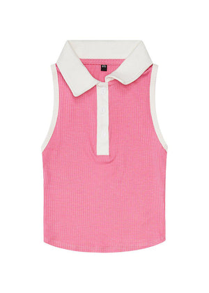 Girls Pink Sleeveless Collared Top-TeenzShop