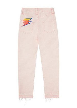 Pink Stone-Washed Thunderbolt Mom Jeans