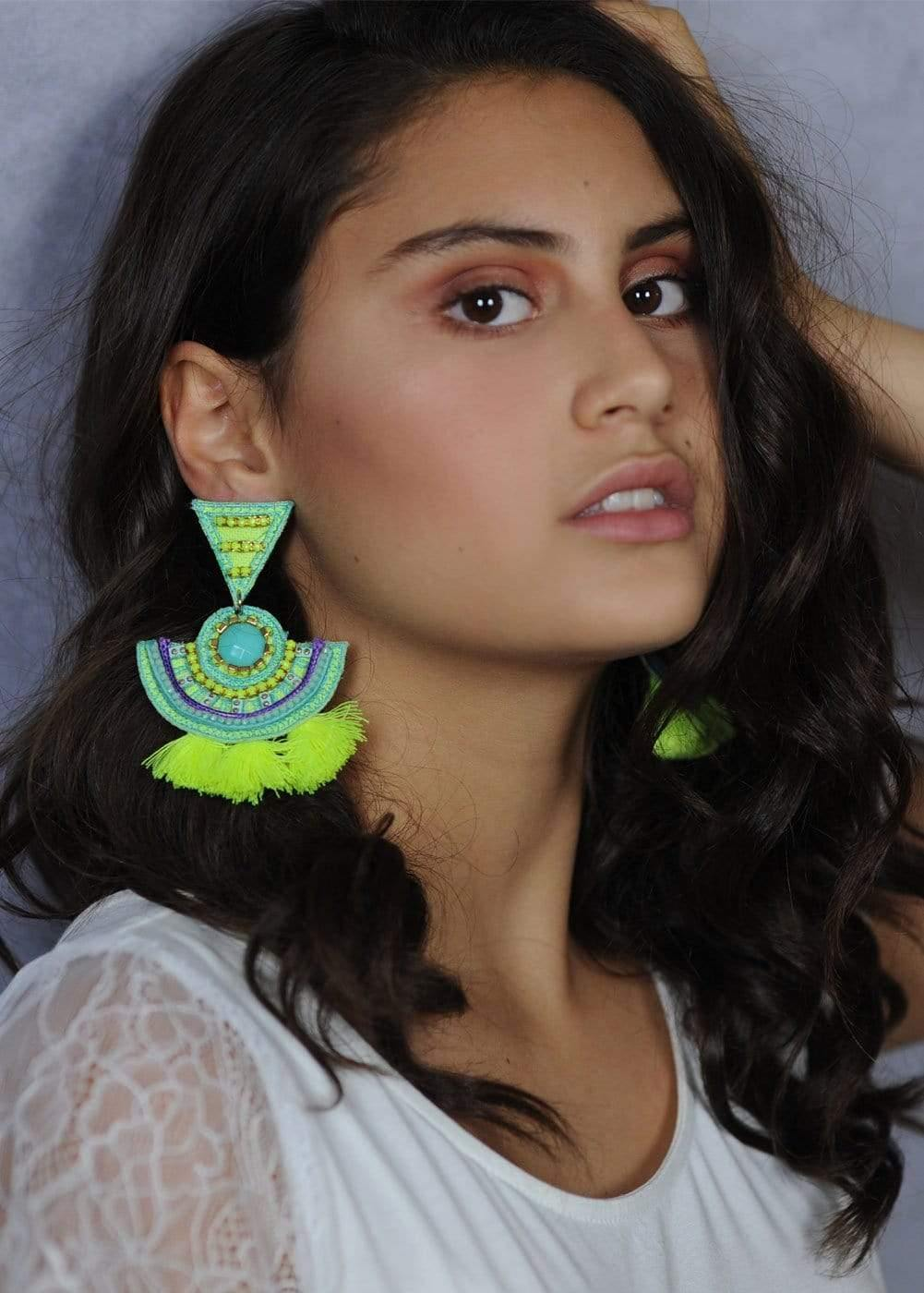 Girls Turquoise Chandelier Earrings-Model