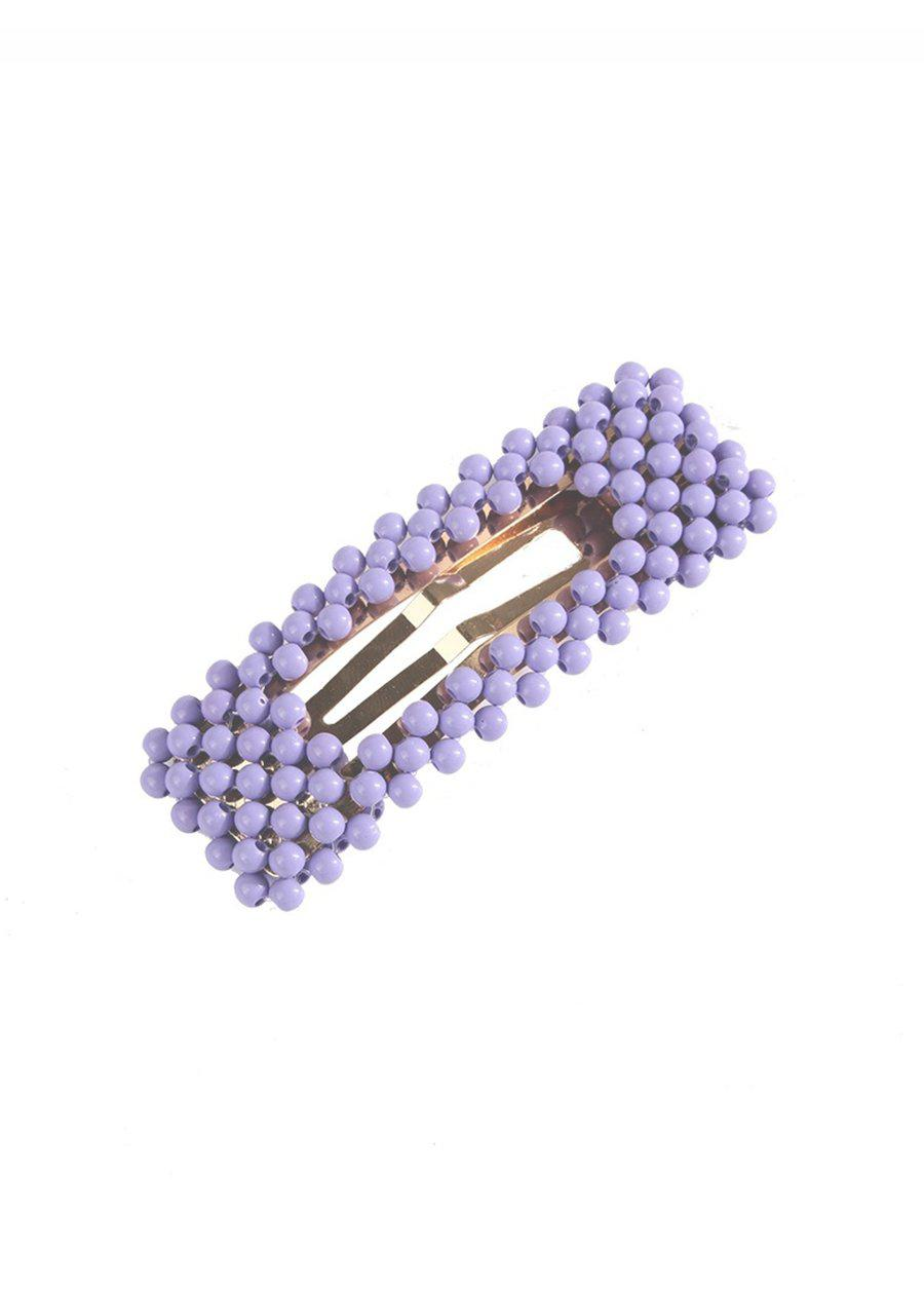 Purple Beaded Barrette Hair Clip