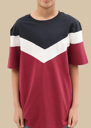 Boys Burgundy Short Sleeve Diagonal Print T-Shirt-TeenzShop