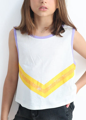 Youth Girls Taupe Beige Retro Stripe Tank Top