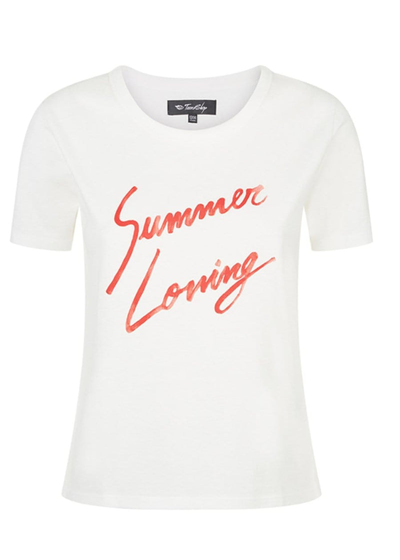 Youth Girls White Summer Loving Slogan T-shirt Front