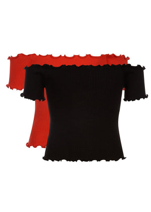 Girls Twin Pack Bardot Top - Black & Red - Front