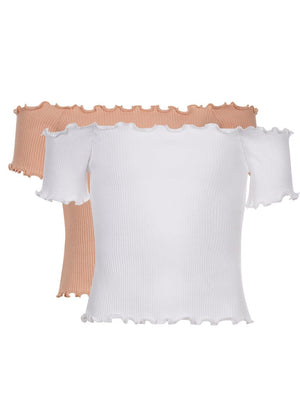 Girls Twin Pack Bardot Top - White & Pink - Front