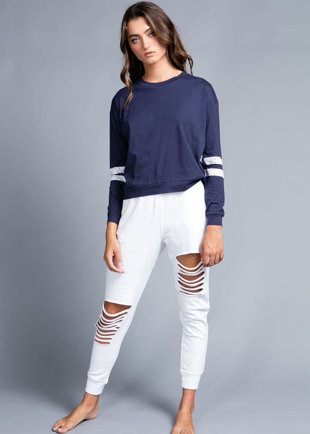 Girls White Ripped Joggers-Model front