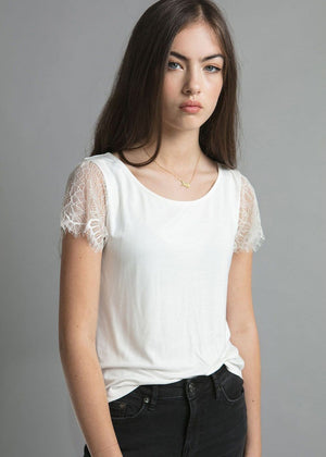 Girls White Lace Tank Top-Model