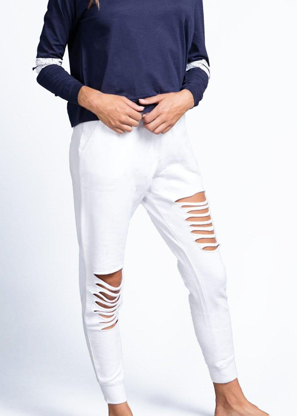 Girls White Basic Ripped Joggers