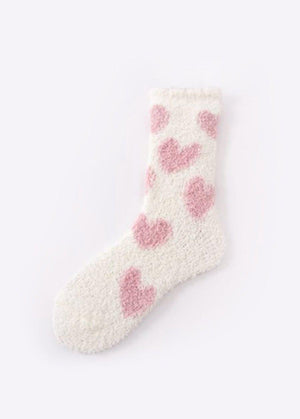 Cosy Hearts White Slipper Socks-TeenzShop