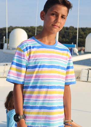 TeenzShop Youth Boys Short Sleeve Multi Colour Striped T-Shirt - SUSTAINABLE FABRIC