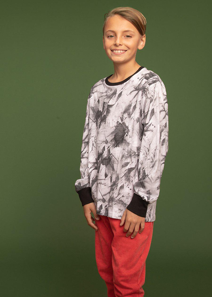 Youth Boys Paint Splatter Long Sleeve T-shirt - SUSTAINABLE FABRIC