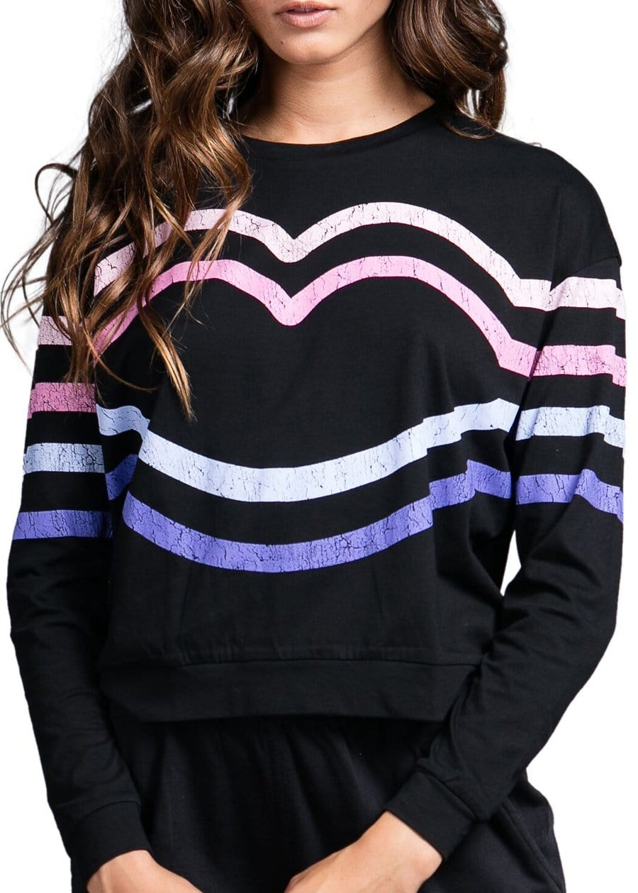 Youth Girls Candy Stripe Light Sweatshirt Model Front 1