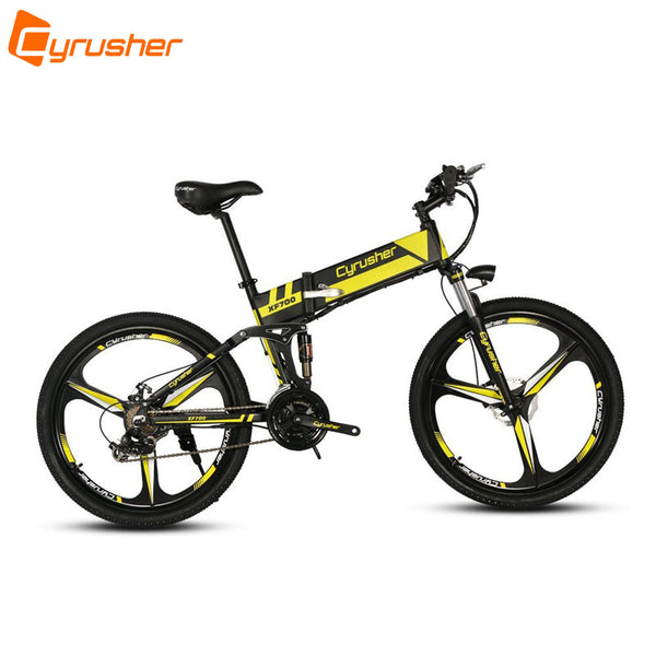 Cyrusher XF700 Unisex Folding Electric Bike 250 Watt 36V MTB Bicycle Full Suspension 21 Speeds Ebike for Outdoor City Commuting - Gogreenebikeco