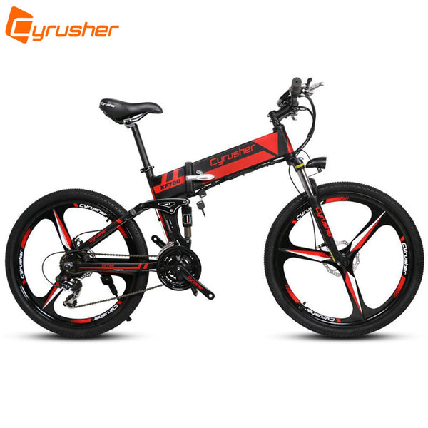 Cyrusher XF700 Unisex Folding Electric Bike Mountain Full Suspension 250 Watt 36V 21 Speeds Ebike for Outdoor Recreation Bicycle - Gogreenebikeco