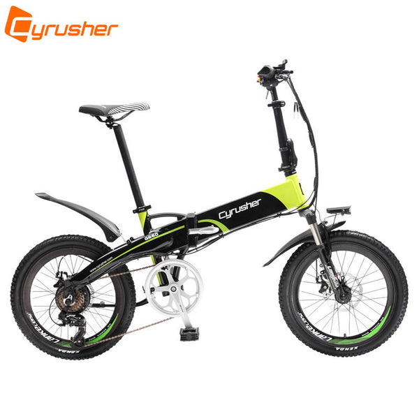 Cyrusher XF500 Electric Folding Bike 250W 48V 10AH Lithium Battery 50cm/20Inch Aluminum Frame Fork Suspension 7 Speed Disc Brake - Gogreenebikeco