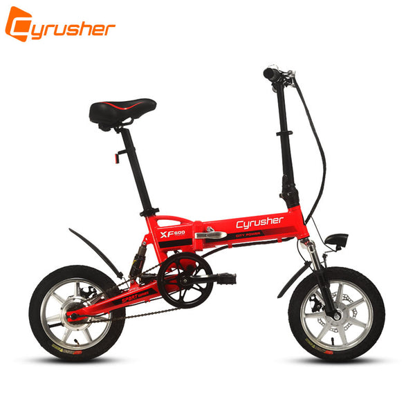 Cyrusher XF600 240W 36V 14 Inch Mini Electric Folding Bike Full Suspension with Bike Computer 3 Speeds Setting Double Disc Brake - Gogreenebikeco