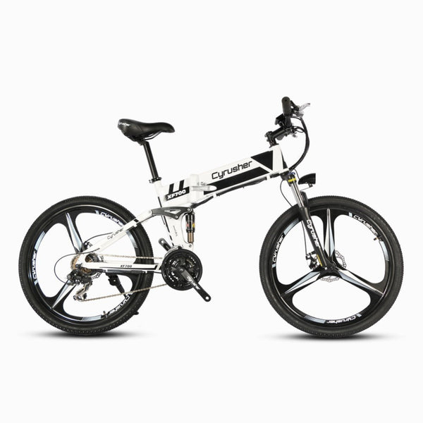Cyrusher XF700 Folding Electric Bike Mountain Full Suspension 250W 36V 21 Speeds Smart Ebike for Outdoor Commuting Travling Bike - Gogreenebikeco
