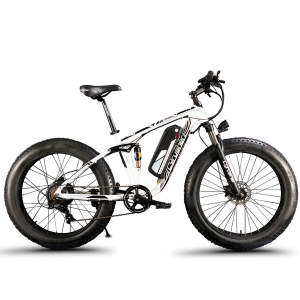 Cyrusher XF800 1000W 48V Electric Bike Fat Bike Full Suspension 7 Speeds 50 KM/H 5 Setting Smart Computer Hydraulic Disc Brake - Gogreenebikeco