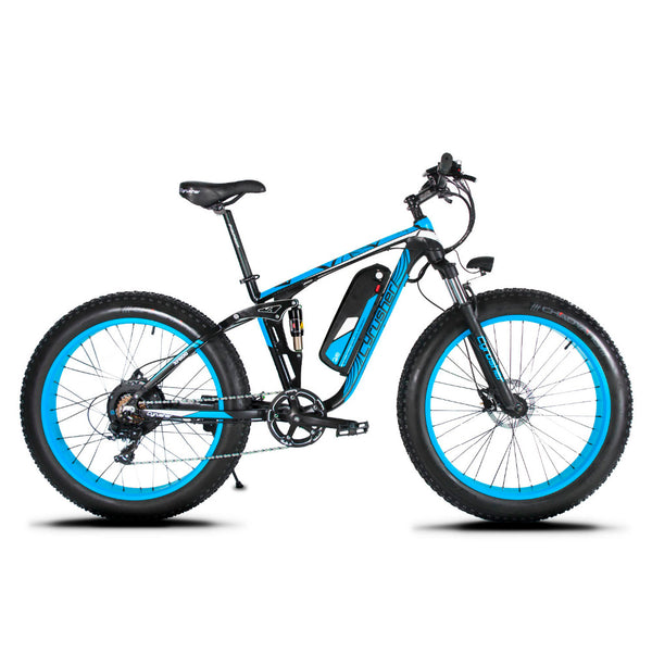 "Cyrusher XF800 1000W 48V Electric Bike 26""x4.0 Fat Bike7 Speeds Full Suspension 5 Setting Smart Computer Hydraulic Disc Brake - Gogreenebikeco"
