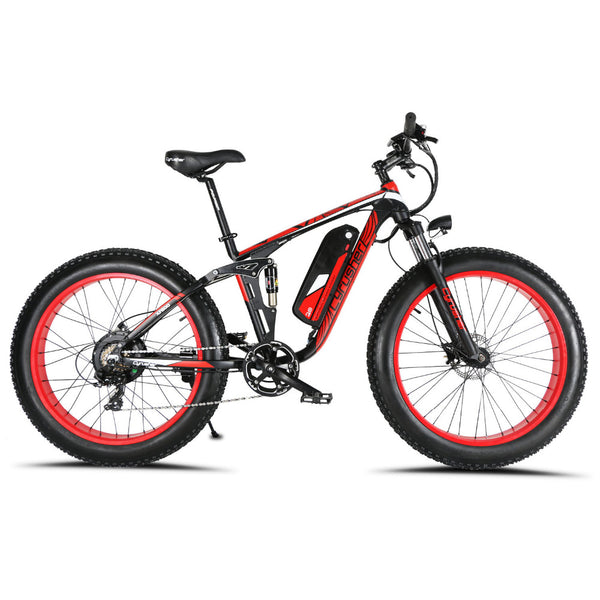 Cyrusher XF800 1000W 48V Electric Bike Fat Bike 7 Speeds Full Suspension 50 KM/H 5 Setting Smart Computer Hydraulic Disc Brake - Gogreenebikeco