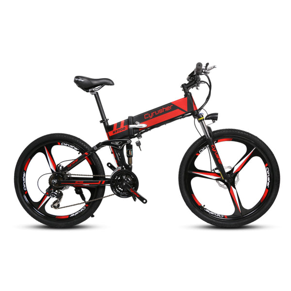Cyrusher XF700 Folding Electric Bicycle Mountain Full Suspension 250 Watt 36V 21 Speeds Ebike for Outdoor Recreation Bike - Gogreenebikeco