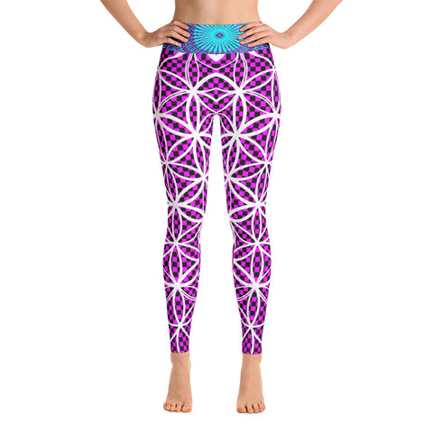 Flower Checkered Pink - Yoga Leggings