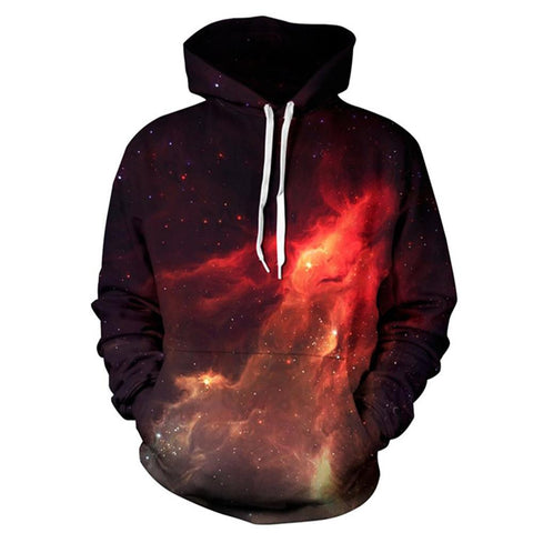 3D Printed Hoodies Mens - Red Galaxy Long Sleeve Loose Sweatshirt