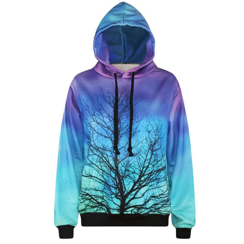 3D Print Hoodies Womens - Loose Long Sleeve Branch Pullover