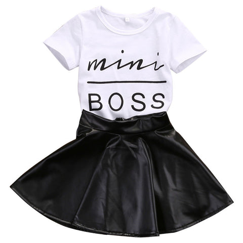 Mini Boss T Shirt and Leather Skirt