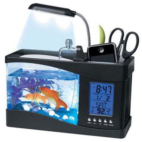 Office 5 in 1  Aquarium + Pens + Calendar + Clock + Temp