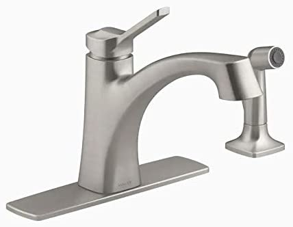 KOHLER Maxton Vibrant Stainless 1-Handle Deck Mount Low-Arc Handle Kitchen Faucet (Deck Plate Included)