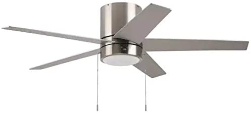 Harbor Breeze Quonta Brushed Nickel 52-in LED Indoor Flush mount Ceiling Fan (5-Blade)