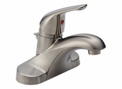 "Delta Faucet B510LF-SSPPU-ECO Lavatory Faucet with Pop-Up Low Lead Single 4"" Centers Lever Handle"