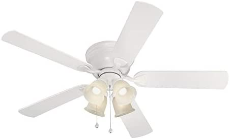 Harbor Breeze Centreville 52-in White Indoor Flush Mount Ceiling Fan with Light Kit