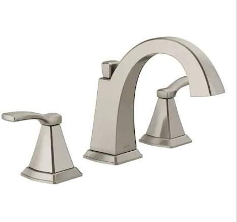 Delta Flynn 35768LF-SS Brushed Nickel 2-Handle Widespread WaterSense Bathroom Sink Faucet with Drain