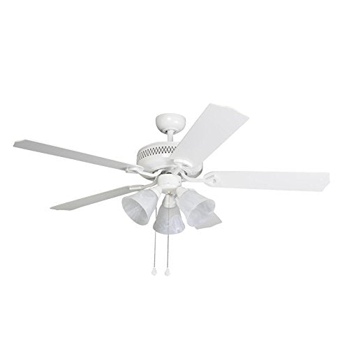 Harbor Breeze Barnstaple Bay 52-in White Downrod Mount Indoor Ceiling Fan with Light Kit
