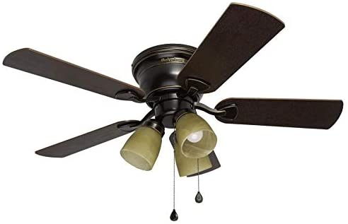 Harbor Breeze Centreville 42-in Oil-Rubbed Bronze Indoor Flush Mount Ceiling Fan with Light Kit