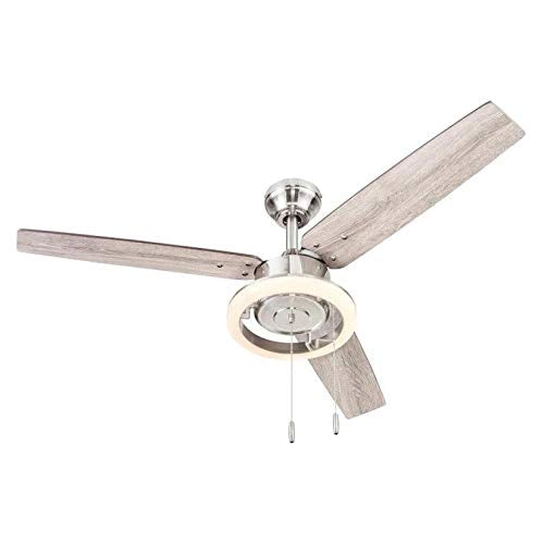 Wellsboro 48-in Brushed Nickel Indoor Ceiling Fan with Light Kit (3-Blade)