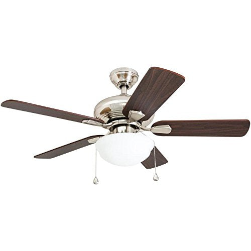 Harbor Breeze 40303 Caratuk River 52-in Brushed Nickel Indoor Downrod Mount Ceiling Fan with Light Kit