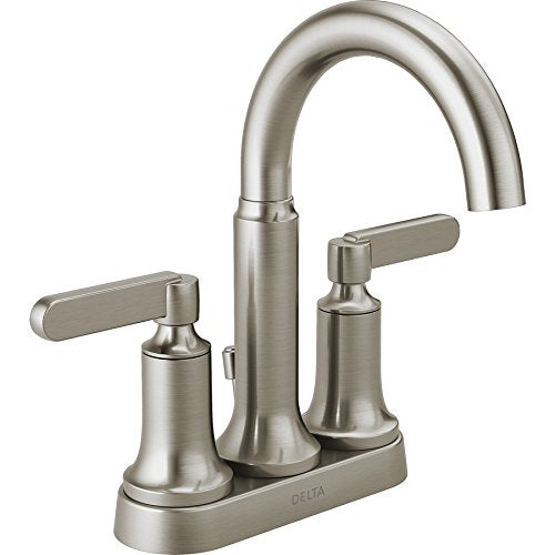 Delta Alux SpotShield Brushed Nickel 2-handle 4-in Centerset Bathroom Faucet