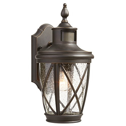 allen + roth Castine 13.78-in H Rubbed Bronze Motion Activated Outdoor Wall Light