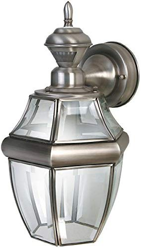 Secure Home Hanging Carriage 14.5-in H Antique Silver Motion Activated Outdoor Wall Light