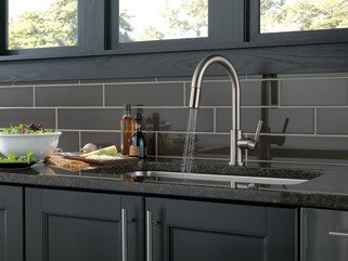 Delta Trask Stainless Single Handle Pull-Down Kitchen Faucet with Soap Dispenser