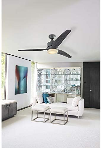 Harbor Breeze Fairwind 60-in Galvanized Integrated Led Indoor/Outdoor Downrod Mount Ceiling Fan with Light Kit and Remote (3-Blade)