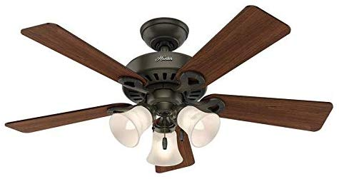Hunter Ridgefield 44-in New Bronze LED Indoor Ceiling Fan with Light Kit (5-Blade)