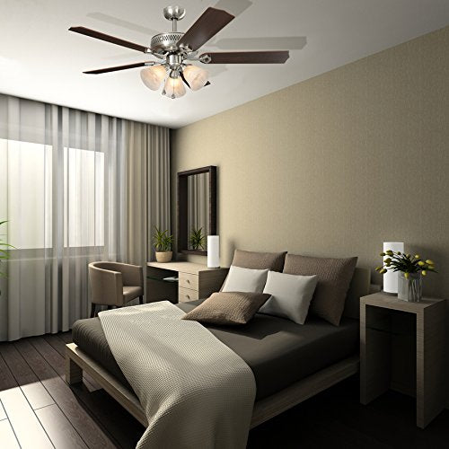 Harbor Breeze Barnstaple Bay 52-in Brushed Nickel Downrod Mount Indoor Residential Ceiling Fan with Light Kit