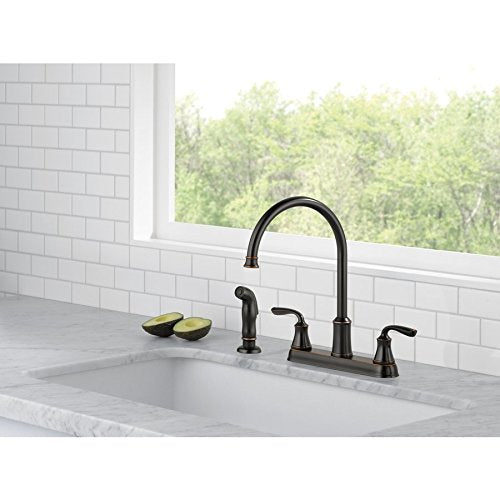 Delta - Lorain - Two Handle Kitchen Faucet with Matching Side Sprayer - Color: Oiled Bronze